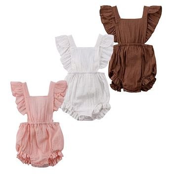 Sweet Newborn Baby Girls Ruffles Romper Backless Jumpsuit Outfits Clothes Sunsuit 0-24M