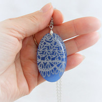 Blue or White  pendant with lace,  Resin necklace  Oval resin pendant lace resin pendant Boho jewelry Rustic Lace Jewelry