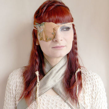 Eye patch, leather eye patch, pirate, eyewear all seeing eye, steampunk, victorian gothic pyrite party, headband, head piece leather jewelry