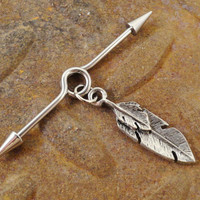 Tribal Silver Feather Industrial Barbell Piercing Upper Ear Surface Piercing