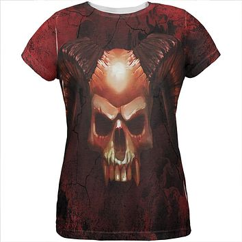 Halloween Horned Demon Skull From Hell All Over Womens T Shirt