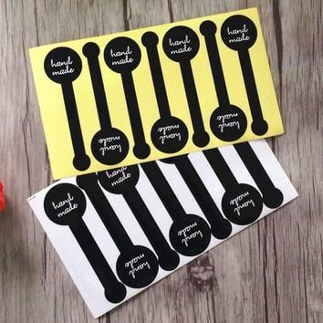 "70pcs/lot Kawaii Black Lollipop ""handmade"" Adhesive Seal Sticker Gift Label Stickers For Party Favor Gift Bag Candy Box Deco"