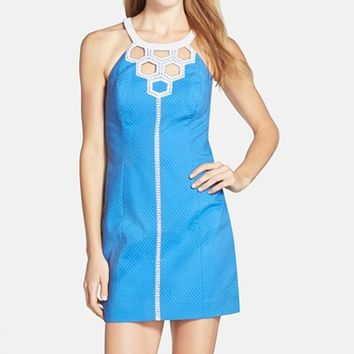 Women's Lilly Pulitzer 'Molly' Cutout Neck Cotton Shift Dress,