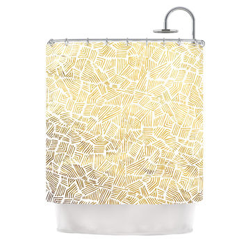 "Pom Graphic Design ""Inca Gold Trail"" Yellow Brown Shower Curtain"