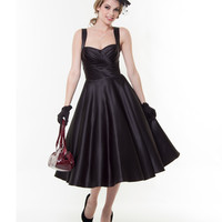 Unique Vintage - Black Satin Happily Ever After Pleated Swing Dress - Unique Vintage - Prom dresses, retro dresses, retro swimsuits.
