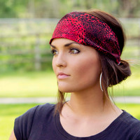 Expandable Boho Headwrap-Fabric Eight (Red and Black Flower Print)