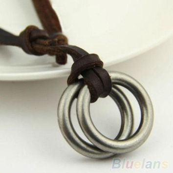 PEAPUG3 Men's Women's Unisex Circle Ring Charm Pendant Brown Genuine Leather Necklace Cord = 1932125252