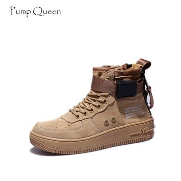 PumpQueen Cool High Sneakers Shoes Woman Autumn Casual Ankle Boots Women Cow Suede Canvas Patchwork Fashion Lace Up Female Boots