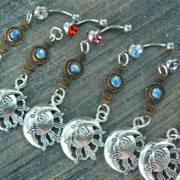 CHOOSE ONE galaxy  sun and moon belly ring blue harlequin in beach summer  belly dancer indie gypsy hippie morrocan boho and hipster style