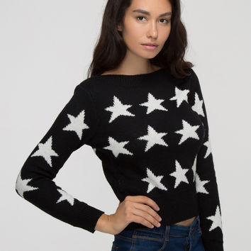 Black Contrast Star Pattern Knitted Sweater