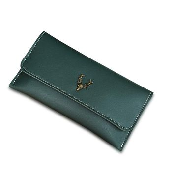 New Fashion Green Wallet For Women Lady Long Clutch Wallets Deer Printed Brand Female Change Purse Hasp Coin Pocket Card Holder