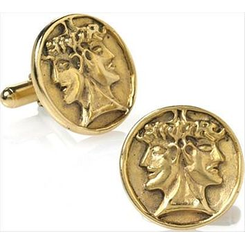 Janus Double Head Roman God of Beginnings Cufflinks, Assorted Colors - T9233X