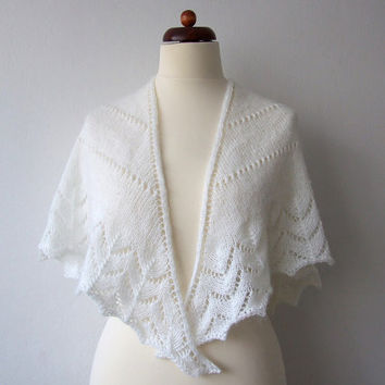 white bridal shrug, knit triangle scarf, handknitted lace shawl