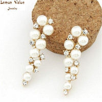 Lemon Value Femme Bijoux Fashion Charms Crystal Long Earrings Imitation Pearl Beads Stud Earrings Women's Jewelry Brincos B060