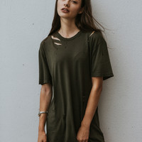 MAISY Distressed Tee - Olive