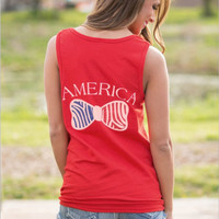 Red Sleeveless America Letter and Bow Flag Pattern T-Shirt