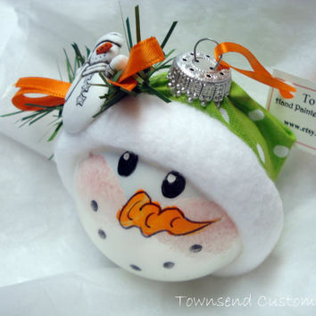 Snowman Ornament Christmas Tree Bulb  Hand Painted Glass Christmas themed with a Snowman -