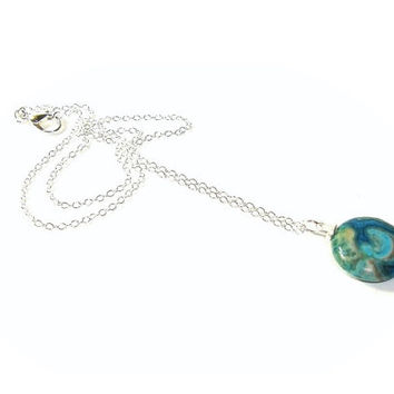Blue Crazy Lace Agate Pendant , Sterling Silver Chain , Gift For Her