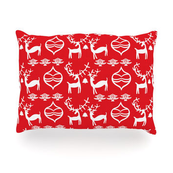 "Miranda Mol ""Antler Fun Red"" Holiday Oblong Pillow"