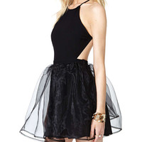 Black Strappy Halter Backless Tutu Dress