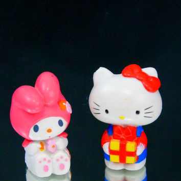 Sanrio Hello Kitty  1980s Vintage  PVC Toy Miniatures Baby Shower Decor Cake Topper