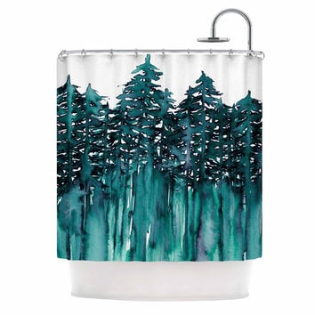 "Ebi Emporium ""Forest Through The Trees 5"" Teal White Shower Curtain"