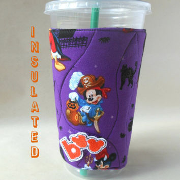 Disney Halloween Coffee sleeve, Mickey Mouse Cup cozy, hot or cold beverage coozie, Insulated