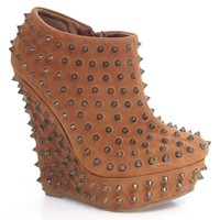 Driven89 Metal Spike Covered Platform Wedge Stylish Edgy Fierce Ankle Boot