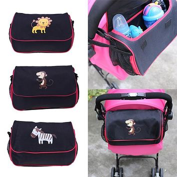Wheelchairs Bag Stroller Accessories Baby Push Chair Carriage Bottle Diapers Storage 6 Packets Cartoon Animal Print