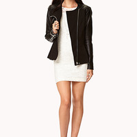 Faux Leather-Trimmed Peplum Jacket