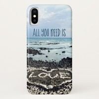 """""""Need Love"""" Quote Hawaii Beach & Coral Heart Photo iPhone X Case"""