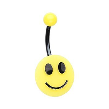 Smiley Face Non Dangle WildKlass Belly Button Ring
