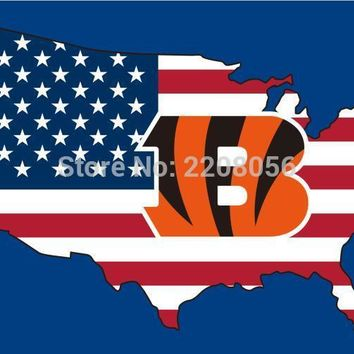 New style 3x5FT Cincinnati Bengals flag with American banner flag 100D Polyester flag hot sell Cincinnati Bengals flag