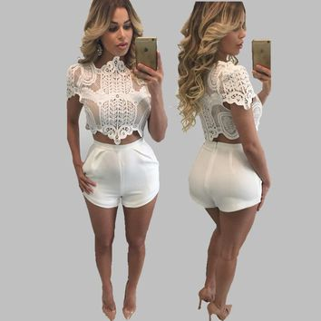 White Bustier Crop Top Lace Sexy Lace Crop Top White Crochet Top Hollow Out Short Summer Tank Top