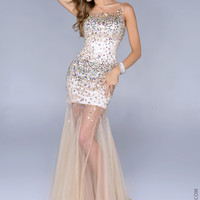 Nina Canacci 5029 -Nude/Silver Beaded Illusion Prom Dresses Online