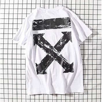 Off White New fashion letter arrow pattern print couple top t-shirt White