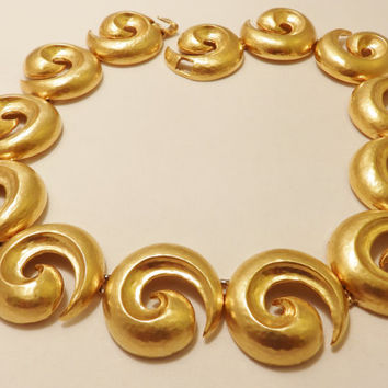 Large Gold Tone Swirl Designer Signed Dauplaise Statement Necklace