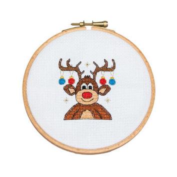 Christmas Cross Stitch pattern Rudolph the reindeer