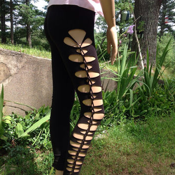 Shredded Black Leggings by PirateGirlDesigns on Etsy
