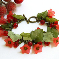 Red Lucite Flower Christmas Bracelet Handcrafted Green Leaves Crystal Jewelry