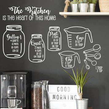 Kitchen Measurement Decals, Measuring Cheat Sheet Sticker, Vinyl Wall Decal, Gift for Mom, Kitchen Decor, Cooking Gift for Her, Mason Jar