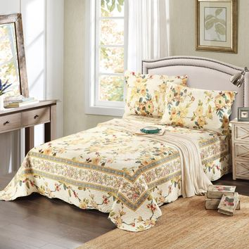 Tache 3 Piece Floral Yellow Summer Rose Reversible Bedspread Set (SD112)