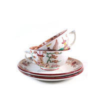 2 French Tea Cup & Saucer, Sarreguemines Digoin Kyoto, Japanese Chinese Art Deco, Coffee Set