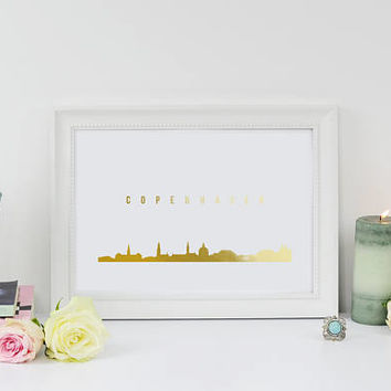 Copenhagen Skyline, Copenhagen Print, Real Gold Foil Print, Office Decor, Illustration Art Print, Office Art, Denmark Art, Denmark Cityscape