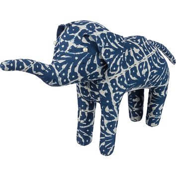 Elephant Block Flower In Indigo Kantha-stitched Patterns