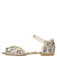 Peep Toe Snakeskin D'Orsay Flats by Charlotte Russe - Natural