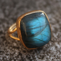 Blue Labradorite Ring Rectangular Cut Aurora Borealis by OhKuol