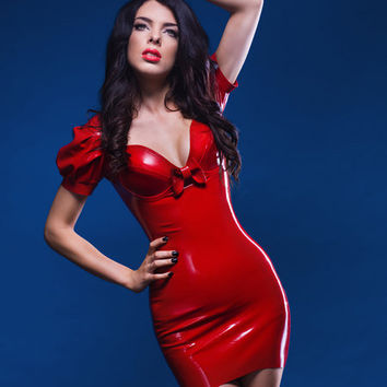 Puff Sleeve Latex Mini Dress by oohlalatex on Etsy
