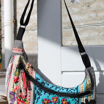 Cross over boho bag with vintage lace, flower felt and new and vintage embroidery