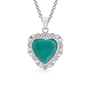 Turquoise Heart Shape Pendant Filigree Necklace 925 Sterling Silver